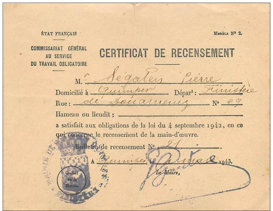 certificat de recensement pour le s t o mairie quimper 1943 ww2. Black Bedroom Furniture Sets. Home Design Ideas