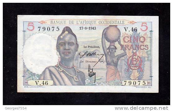 5 Francs - Banque De L´Afrique Occidentale - 17-8-1943  - Alp. V.46 - Billets
