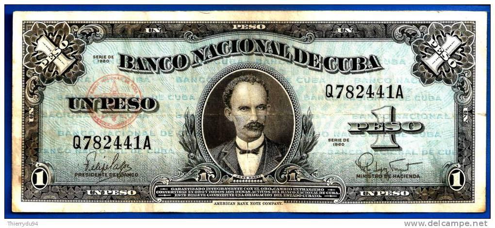 Cuba 1 Peso 1960 Jose Marti Pesos Kuba Centavos Skrill Paypal OK! Uniquement Prix + Frais De Port - Cuba