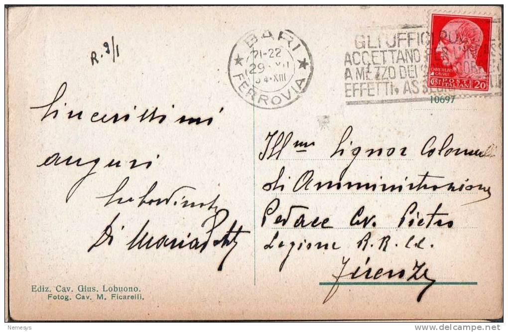 1934 BARI LUNGOMARE NAZARIO SAURO FP V SEE 3 SCAN ANIMATA TARGHETTA UFFICI POSTALI - Bari