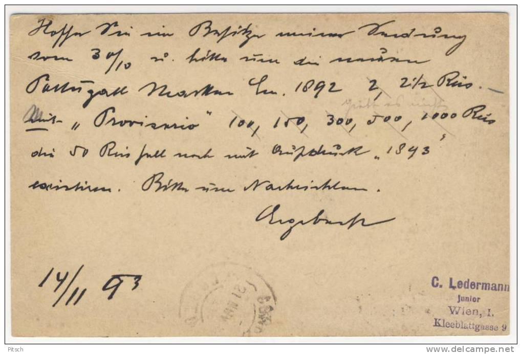 Postkarte 1893 - Kreuzer Und Para - Mischfrankatur Verwendet In Wien Nach Portugal - Levante-Marken