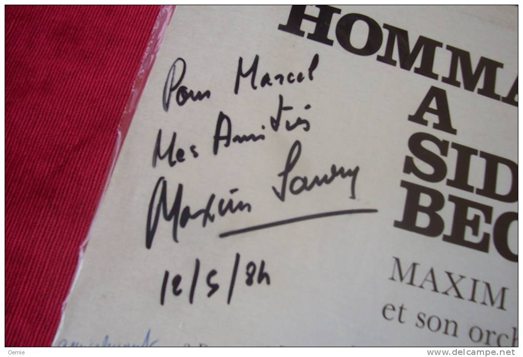 MAXIM SAURY °  HOMMAGE A SIDNEY BECHET - Autogramme