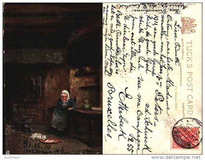 Raphael Tuck & Sons - 1534 Flemish Cottage Homes, Old Friends (oilette) Cat - Tuck, Raphael