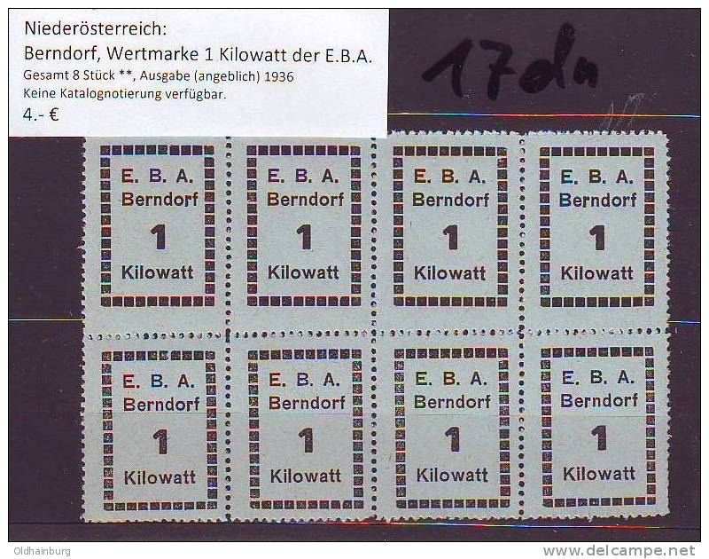 017dn: Austria- Autriche: Berndorf, Energie- Wertmarken Ca. 1936 ** - Cachets Généralité