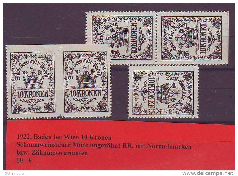 017f5: Austria- Autriche: Baden Schaumweinsteuer 1922 Abart ** - Cachets Généralité