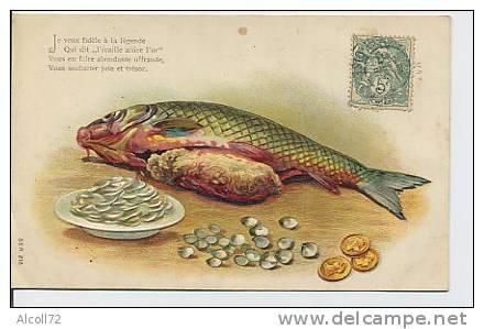 Poisson , écailles , Pièces De Monnaie En Or ( Carte En Relief ) - Monnaies (représentations)