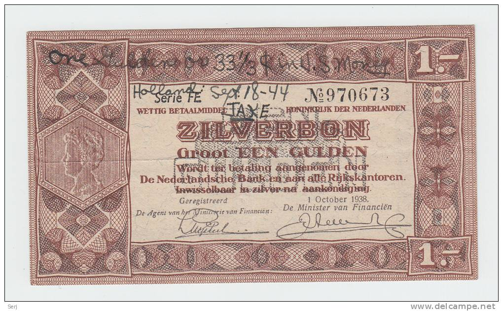 Netherlands 1 Gulden Zilverbon 1938 AXF CRISP Snorter - 1 Gulden