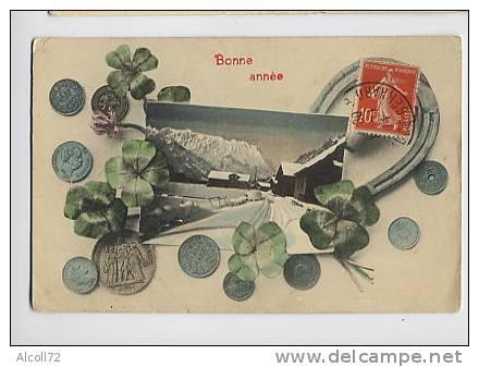 Bonne Année - Fer à Cheval , Trèfles à Quatre Feuilles Et Pièces De Monnaie - A.S.V/ Série 379 - Monnaies (représentations)