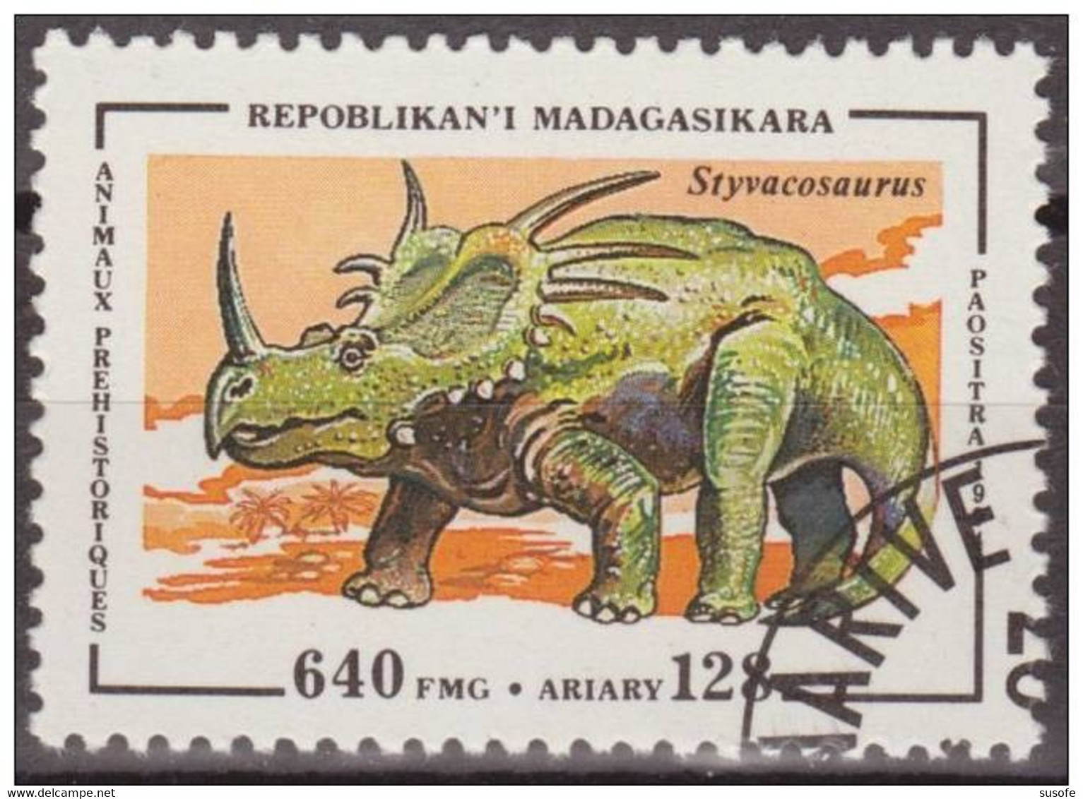 Madagascar 1994 Scott 1178 Sello * Animales Prehistoricos Styvacosaurus 640Fmg Malagasy Madagascar Stamps Timbre - Madagascar (1960-...)