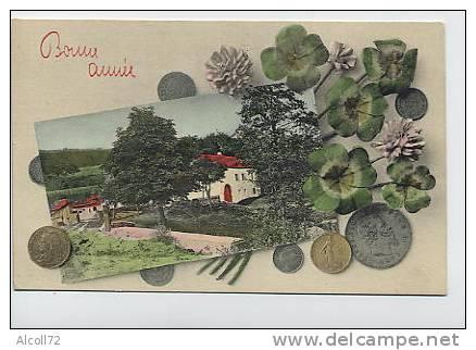 Bonne Année : Paysage , Trèfles à Quatre Feuilles , Pièces De Monnaie - A.S.V. Série 379 - Monnaies (représentations)