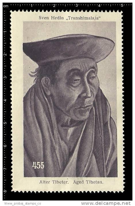 Old Original German Poster Stamp( Advertising Cinderella,reklamemarke )Trans-Himalaya,Sven Hedin,Explorer,Tibet - Geography