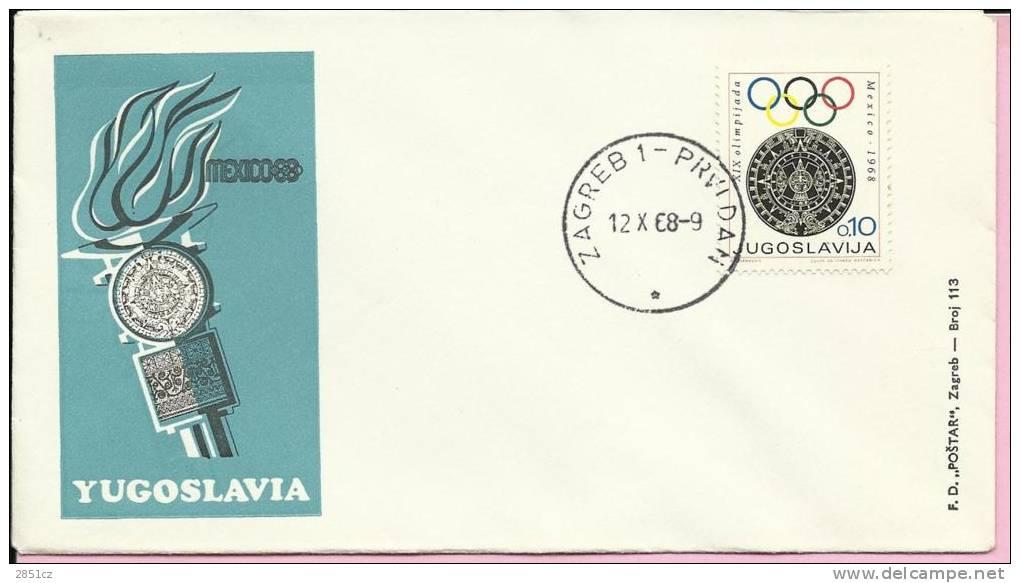 MEXICO '88, Zagreb, 12.10.1968., Yugoslavia, Cover - Sommer 1968: Mexico