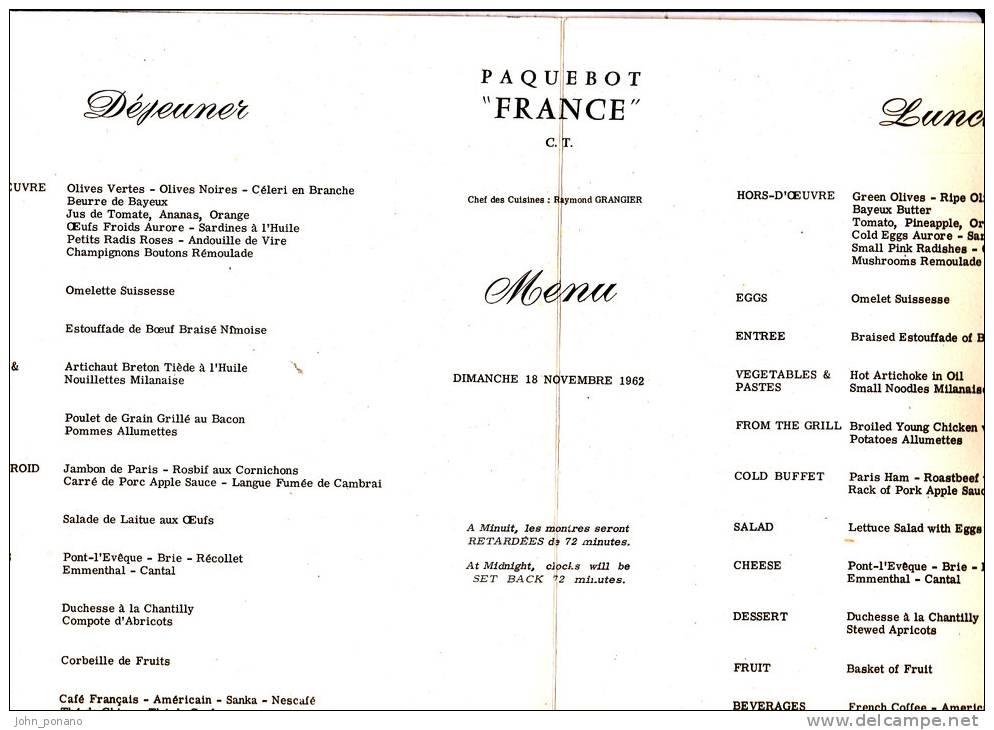 Menu Paquebot France 1962 - Menú