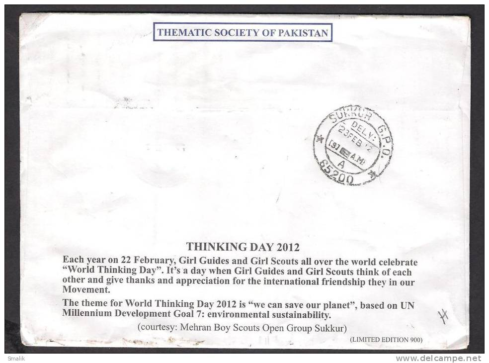 Scouting, World Thinking Day, Planet, Cricket, Hockey, Air Force, Nur Khan, Special Cover Postal Used 22-2-2012 - Scouting