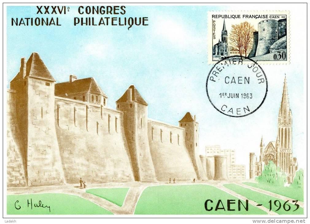 CARTE MAXIMUM  1963 CONGRES NATIONAL PHILATELIQUE   # CAEN # FDC# BASSE NORMANDIE # CALVADOS # - Cartes-Maximum
