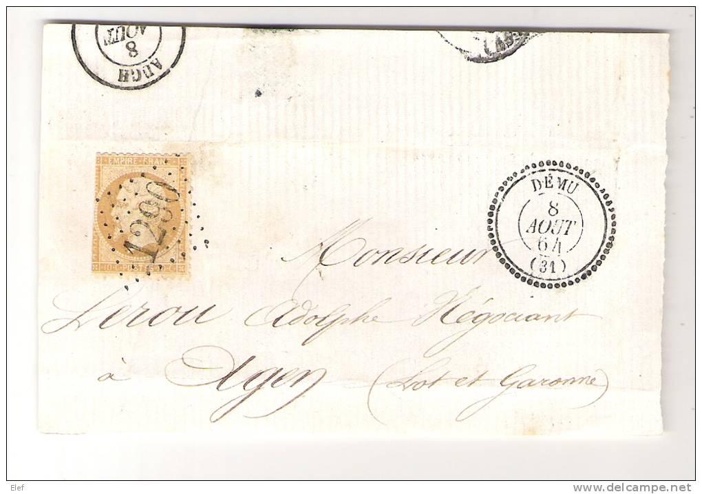 Empire N° 21 Obl GC 1290 + Cachet PERLE De DEMU, Gers,du 8 Aout 1864 Sur Devant De Lettre, INDICE 14, Frappes SUPERBES ! - 1862 Napoleon III