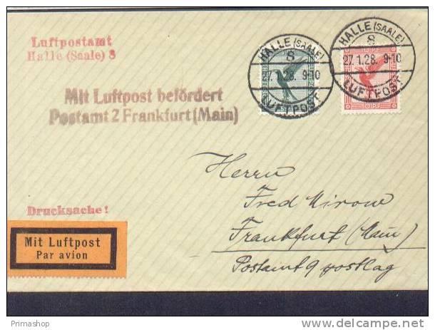 A5 /   Luftpost Luftpostbrief /  Halle - Frankfurt   1928  TOP - Poste Aérienne