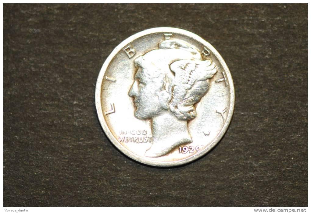 Monnaie, Etats Unis, Usa, One Dime 1929 Mercury - Émissions Fédérales