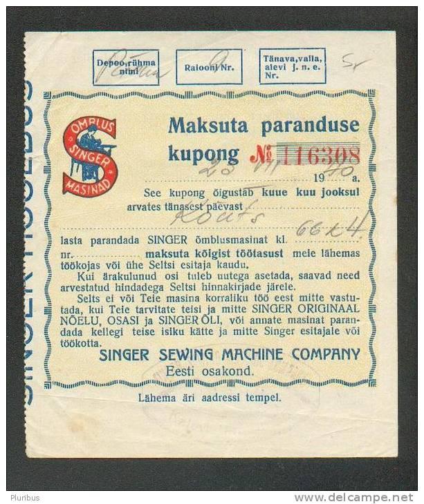 1940 ESTONIA , SINGER SEWING MACHINE CO , TAX-FREE REPAIR COUPON - Vecchi Documenti