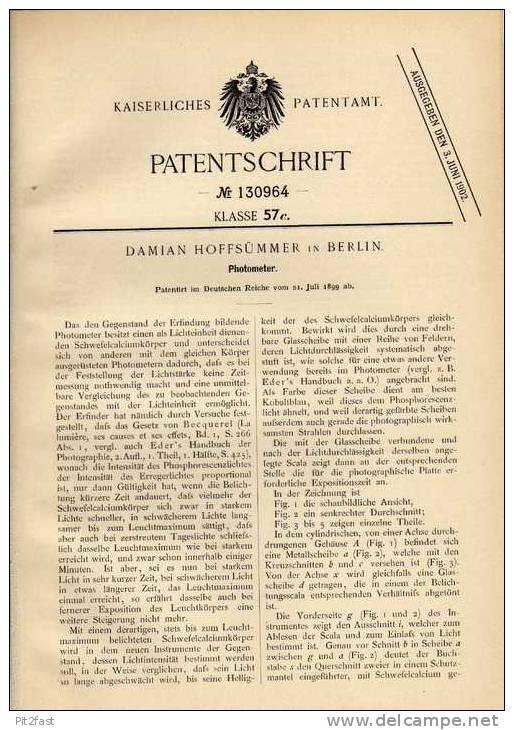 Original Patentschrift - Photometer , Photographie , 1899 , D. Hoffsümmer In Berlin !!! - Zubehör & Material