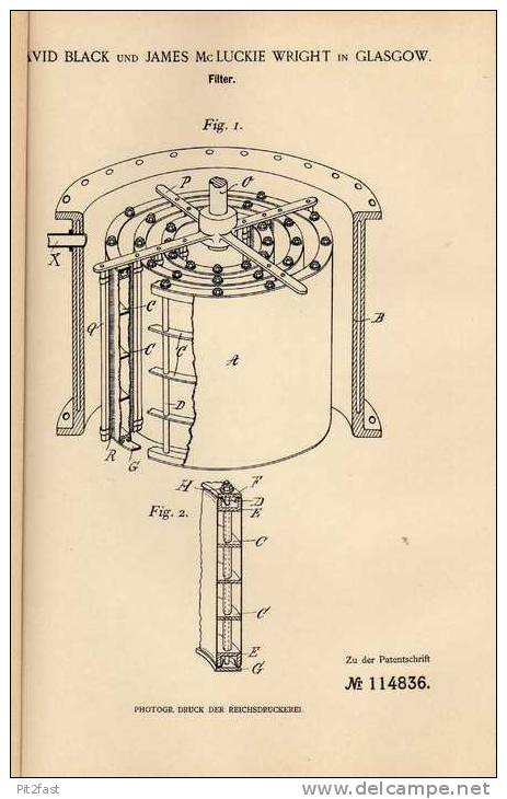 Original Patentschrift - D. Black In Glasgow , 1899 , Filter !!! - Cars