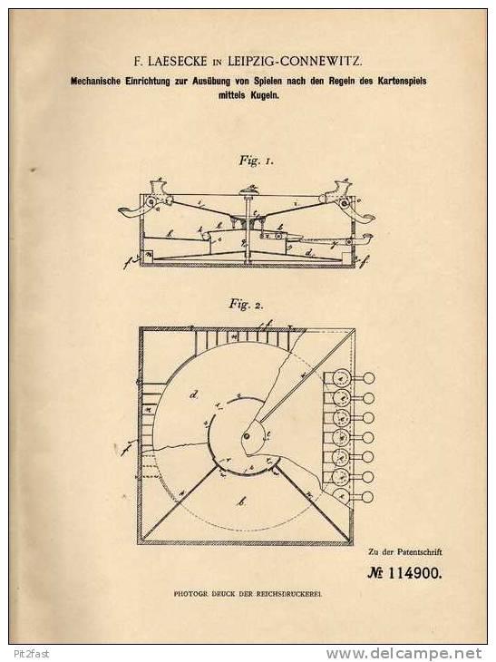 Original Patentschrift - F. Laesecke In Leipzig - Connewitz , 1899 , Kugel - Kartenspiel , Kugeln , Karten  !!! - Toy Memorabilia