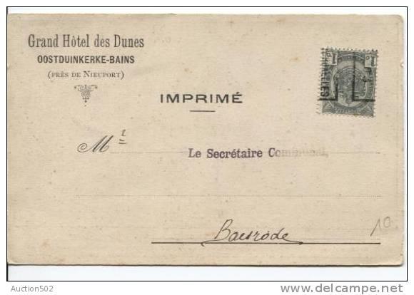 TP Armoirie Roulette 1903 Bruxelles S/CP Grand Hôtel Des Dunes Oostduinkerke-Bains V.Baasrode 888 - Préoblitérés