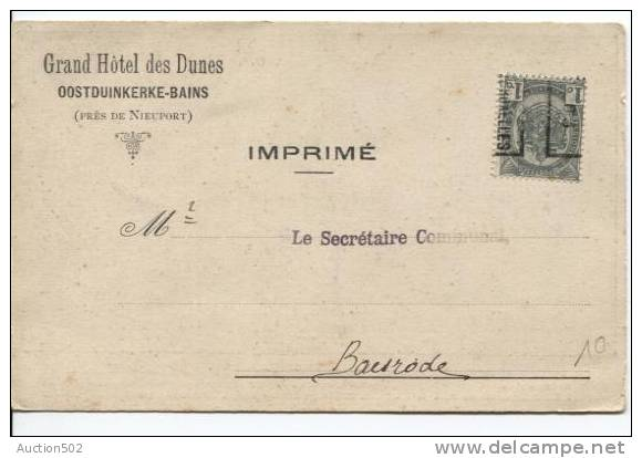 TP Armoirie Roulette 1903 Bruxelles S/CP Grand Hôtel Des Dunes Oostduinkerke-Bains V.Baasrode 888 - Precancels