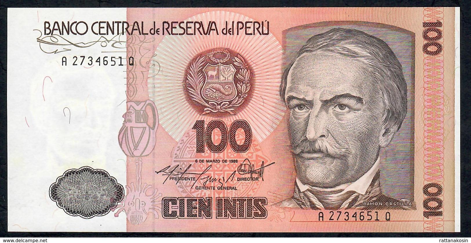PERU   P132b   100  INTIS   1986 DATE  1986    UNC. - Pérou