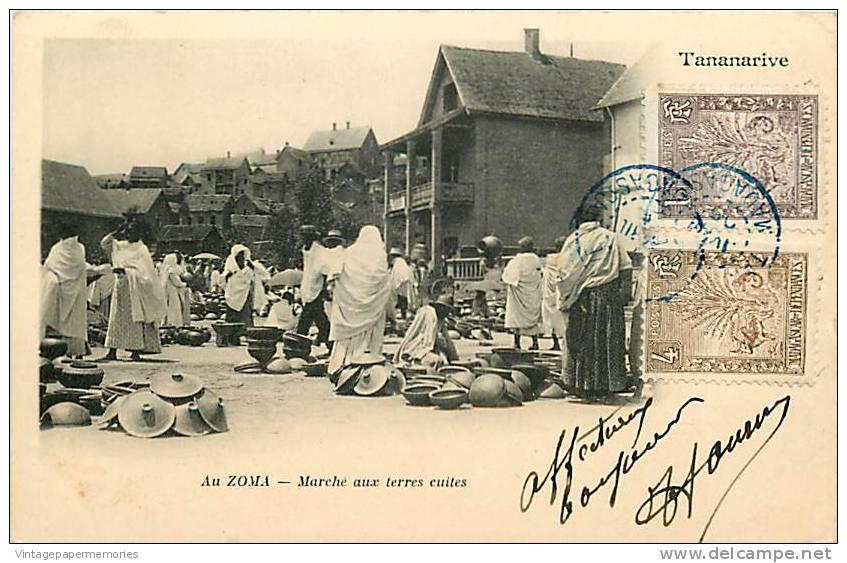 180776-Madagascar, Tananarive, Au Zoma, Marche Aux Terres Cuites, Pottery Market, Stamps, 1905 PM - Madagascar