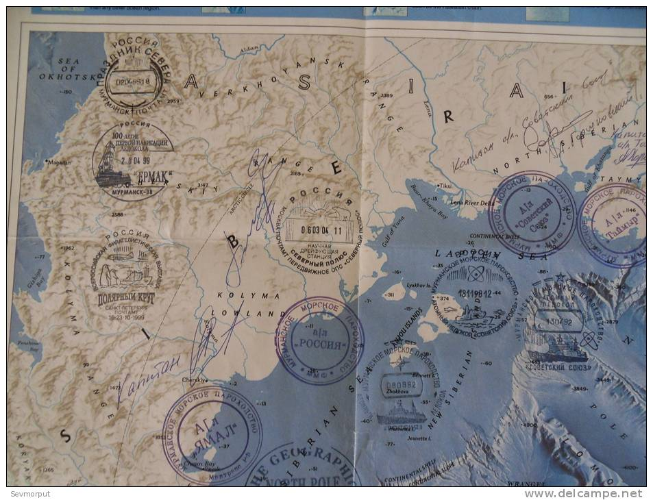 GEOGRAPHY MAP DRIFT STATION NORTH POLE BASE POLAIRE NUCLEAR ICEBREAKER BRISE-GLACE ATOMIQUE EISBRECHER ARCTIC POLAR - Polar Philately
