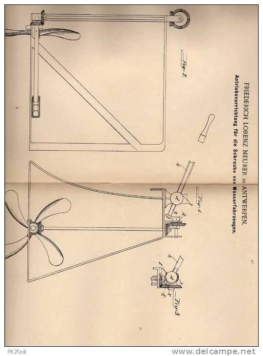 Original Patentschrift - F. Meurer In Antwerpen , 1901 , Schiffsschraube , Propeller , Antrieb Für Schiffe !!! - Boats