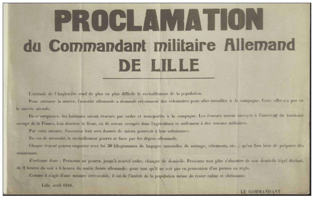 CPA  Proclamation Du Cdt Militaire Allemand De Lille, Avril 1916. - Lille