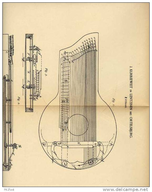 Original Patentschrift - J. Kurbjeweit In Lentzinen B. Ortelsburg , 1887 , Zither , Musik , Musikinstrument ,  Szczytno - Musikinstrumente