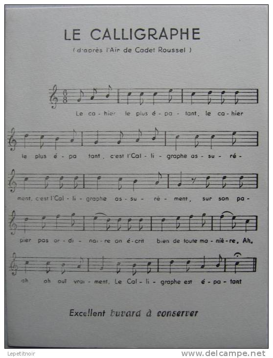 Buvard LE CALIGRAPHE D'après L'air De Cadet Roussel - Buvards, Protège-cahiers Illustrés