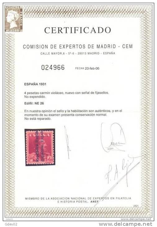 ES26-990BT-J106.Espagne .NO  EXPENDIDO.Spain.ALFONSO Xlll.1931.(Ed  NE.26**).sin Charnela..LUJO.CERTIFICAD           O. - Otros