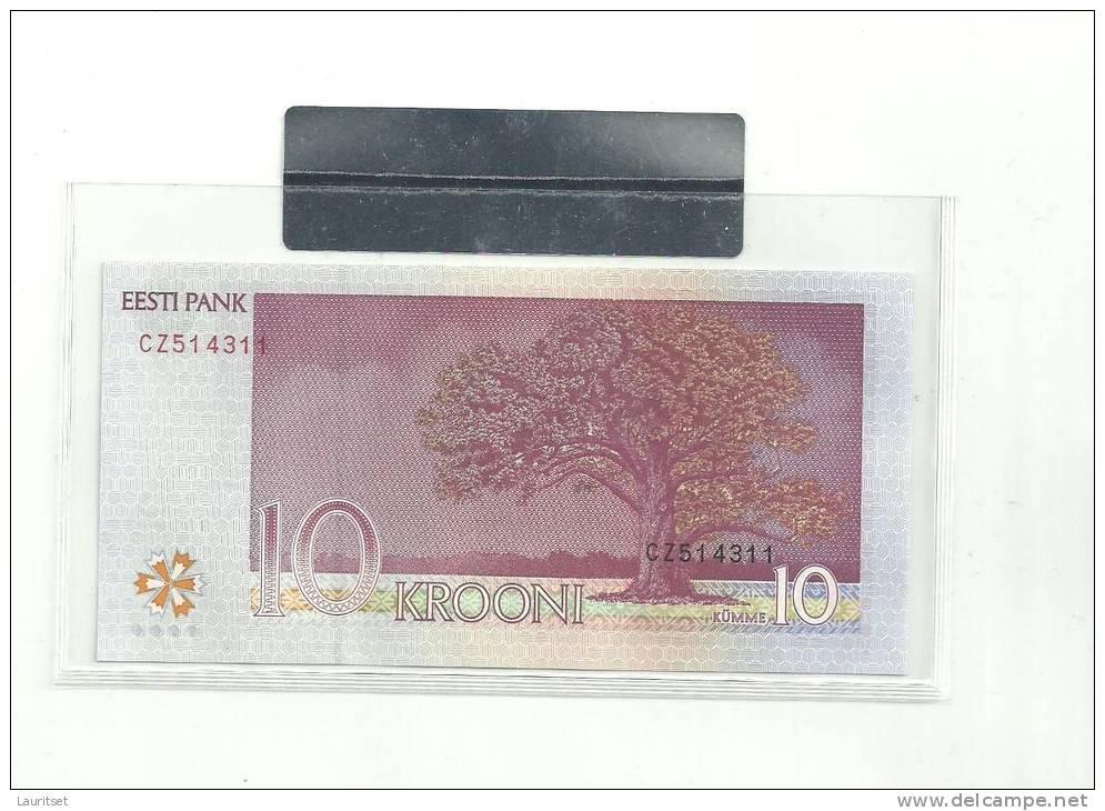 Estland Estonia Estonie  10 Krooni 2007 Banknote UNC In Official Bank Holder Of  Estonian Bank - Estland