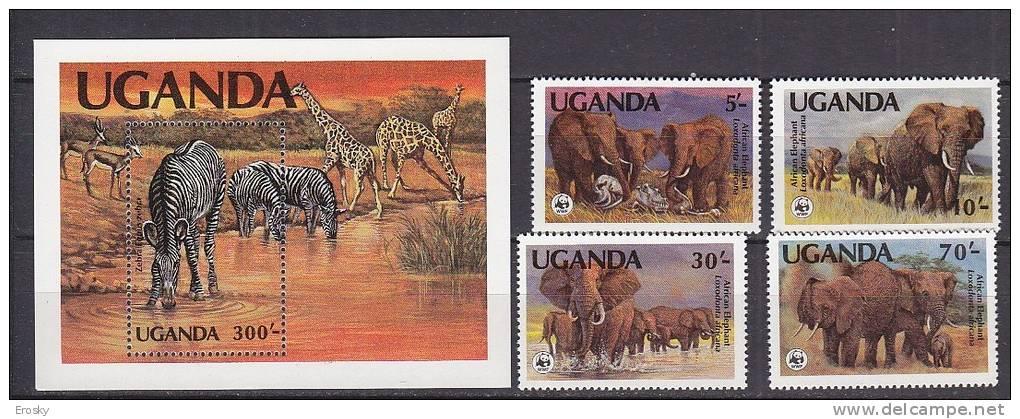 PGL AA0604 - UGANDA Yv N°316/19 + BF ** ANIMAUX ANIMALS - Uganda (1962-...)