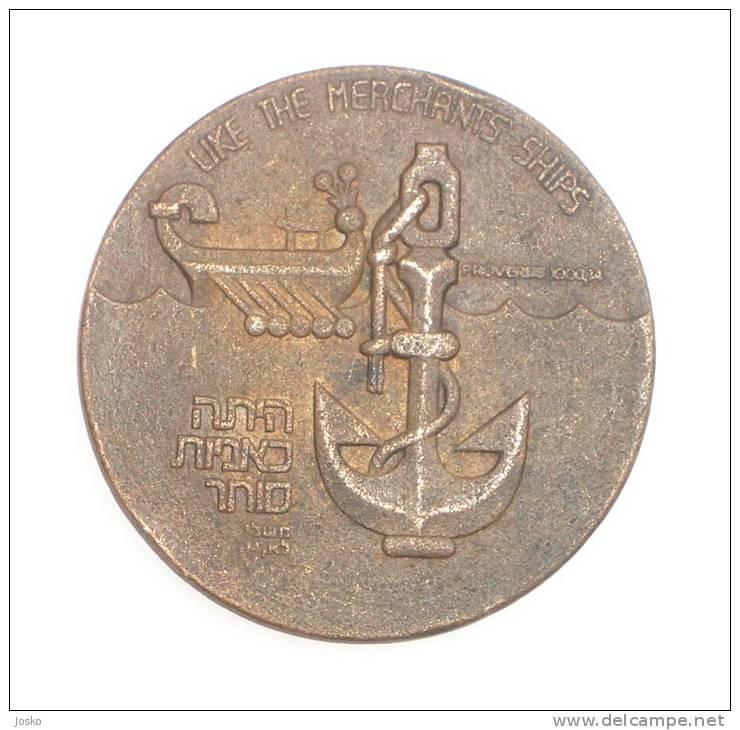 ZIM ISRAEL NAVIGATION CO.- Large , Old & Rare Medal * Jewish - Judaica * Navy Ship Maritime Navigation - Boats