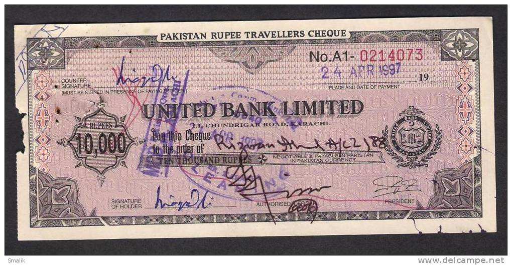 PAKISTAN 10,000 Rupees Travellers Cheque United Bank Limited 24-4-1997 - Bank & Insurance