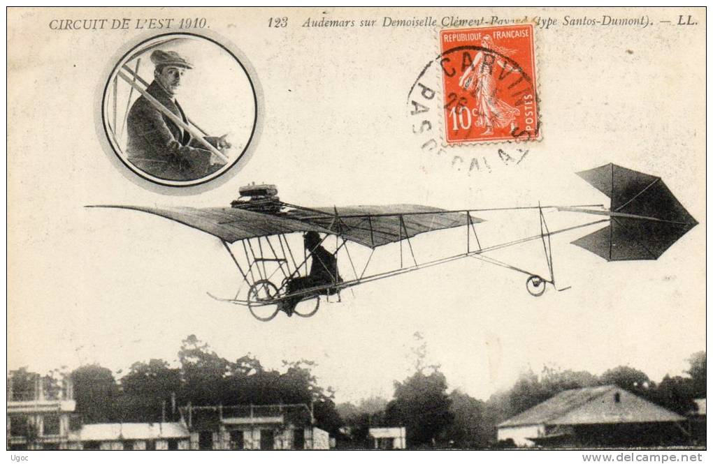 CPA - CIRCUIT DE L'EST 1910 - AUDEMARS Sur Demoiselle Clément-Bayard Type Santos-Dumont - 650 - Flieger