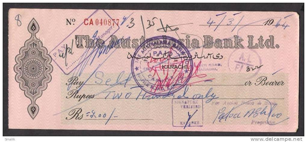PAKISTAN Australasia Bank Ltd Cheque KARACHI 4-3-1964 - Bank & Insurance