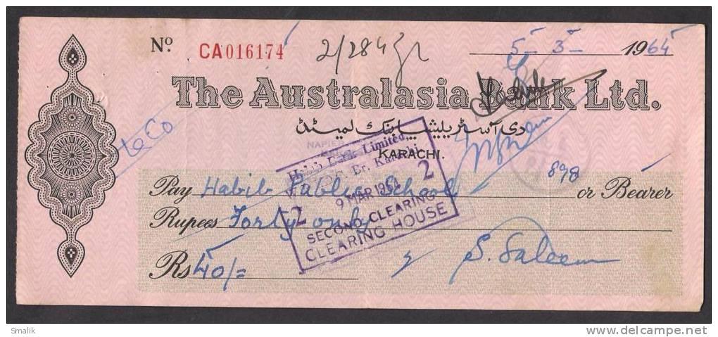 PAKISTAN Australasia Bank Ltd Cheque KARACHI 5-3-1964 - Bank & Insurance