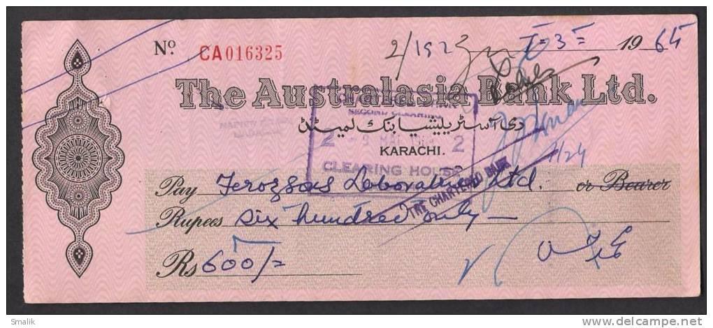 PAKISTAN Australasia Bank Ltd Cheque KARACHI 7-3-1964 - Bank & Insurance