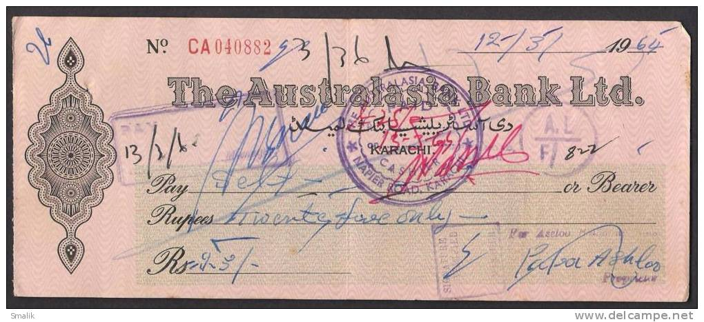 PAKISTAN Australasia Bank Ltd Cheque KARACHI 12-3-1964 - Bank & Insurance