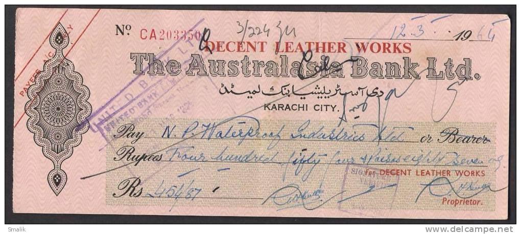 PAKISTAN Australasia Bank Ltd Cheque KARACHI CITY 12-3-1964 - Bank & Insurance