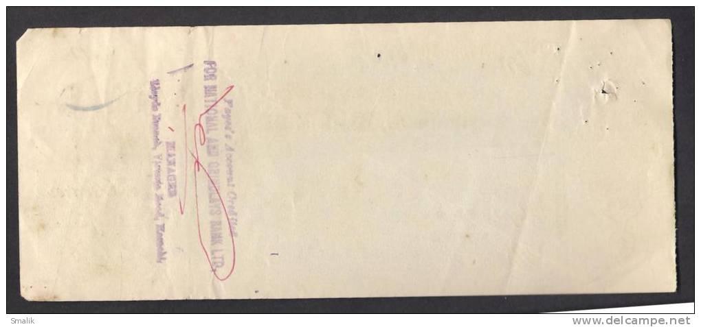 PAKISTAN Australasia Bank Ltd Cheque NAPIER ROAD KARACHI 1-3-1964 - Bank & Insurance