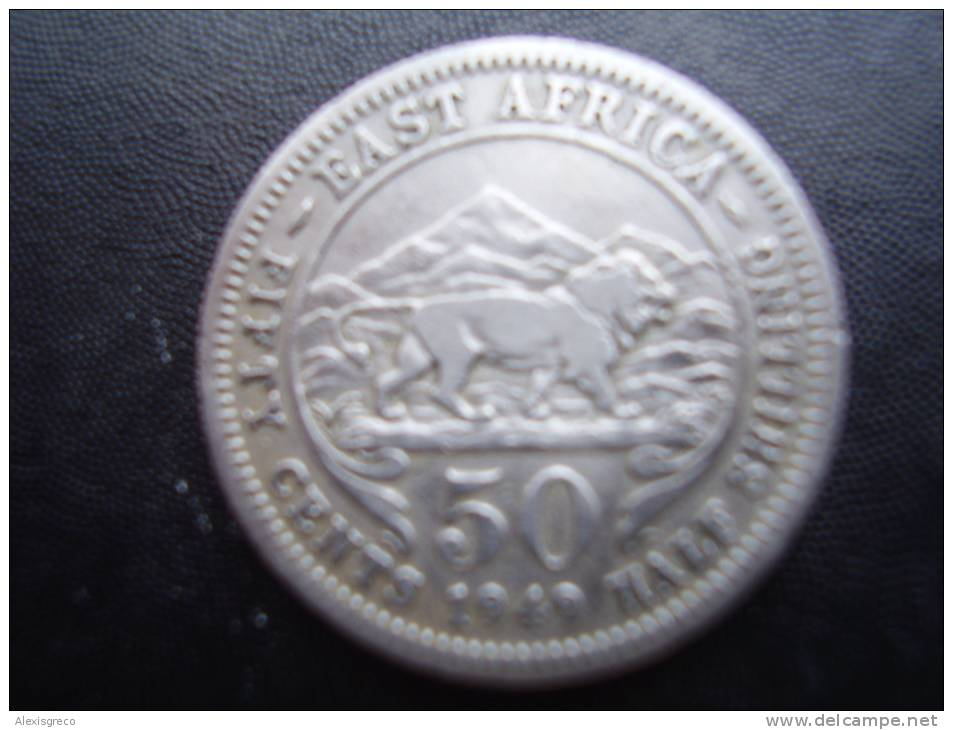 BRITISH EAST AFRICA USED FIFTY CENTS 1949 COPPER-NICKEL COIN. - British Colony