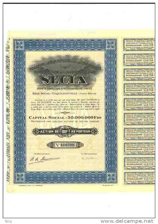 SECIA  Action De 100 Francs 17 Septembre 1927 (congo Belge) - Actions & Titres
