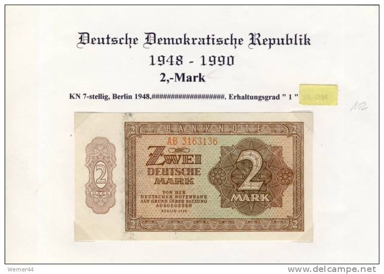DDR - Deutsche Notenbank Von 1948  -- Zwei  Mark  (102) - 2 Deutsche Mark
